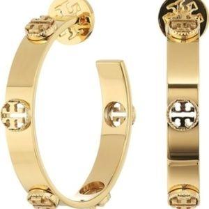 🛑Tory Burch Gold Milgrain Logo Hoop Earrings